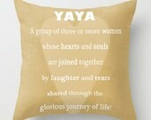 PILLOW TYPOGRAPHY Print - YaYa Pick Your Size, Saying Quote, Mothers Day