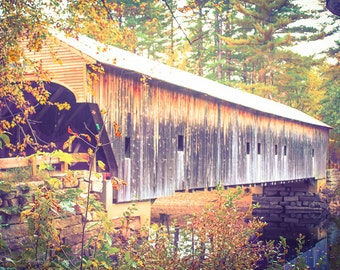 New England WOODEN COVERED BRIDGE, Fall, Maine Landscape, Nature, Leaves, Leaf, Woods, Forest, Travel, River
