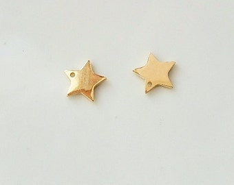 2 pcs  Vermeil Star charm (10mm)