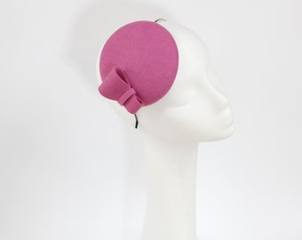 Wool Felt Mini Hat-Button-Felt Fascinator-Red