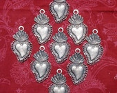 3  Antique Silver Sacred Hearts Mexican Milagros Charms ExVotos Great For Weddings  N Celebrations
