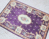1:12 Scale Miniature  Aubusson Rug Floral on Eggplant