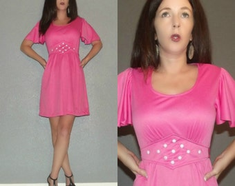 805 Mod SM Vtg 70s Hot Pink Lolita Bell Sleeve Babydoll Dolly Studded Flowers Floral Twiggy Mini Dress