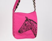 Hot Pink and Chevron Horse Messenger Bag