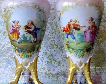 SALE Victorian Scenic Shabby Chic Pair of Porcelain Antique Urn Vases