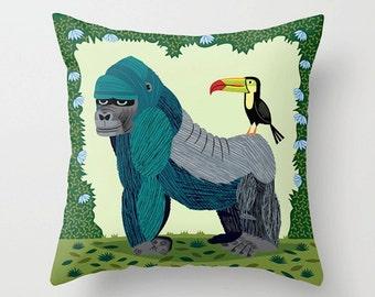 "The Gorilla and The Toucan - Throw Pillow / Cushion Cover (16"" x 16"") iOTA iLLUSTRATION"