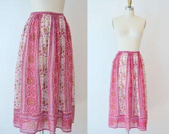 1970s Indian Cotton Skirt / 70s Semi Sheer Gauze Midi Skirt