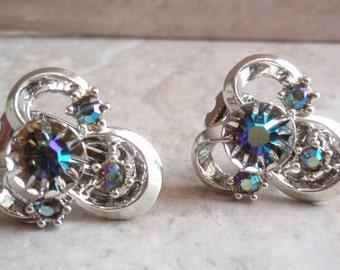 Peacock AB Earrings Silver Tone Rhinestone Clip On Trinity Shape Vintage Estate 120513UP
