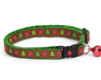 Christmas Cat Collar - Christmas Tree Forest - Small Cat / Kitten or Large(standard) Size Collar