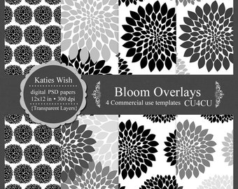 Bloom Overlays digital template kit  commercial use PSD instant download