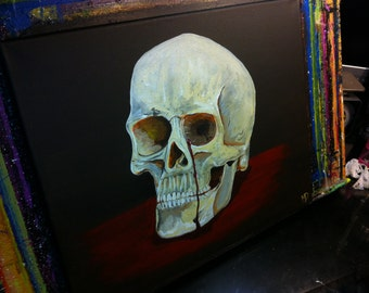 On SALE was 185.00 No More Tears- 16 x 20,Skull Crying Acrylic on canvas, ready to hang, ORIGINAL by Michael H. Prosper
