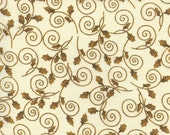 END of BOLT - 1 yard plus 27 inches - Gold Ivy on Cream by Oakhurst Textiles - Ribbons and Bows - Christmas cotton quilting fabric