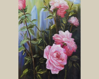 ORIGINAL Oil Painting The Rose Bush 23 x 36 Floral Brush Colorful Pink Roses Cream Fence White Garden ART by Marchella