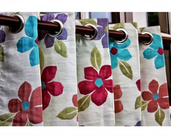 """Spring Garden Curtain Panels 52""""x96"""" Grommet Unlined Drapes Floral Curtains Home Living Decor Housewares Valence Bedroom Window Treatments"""