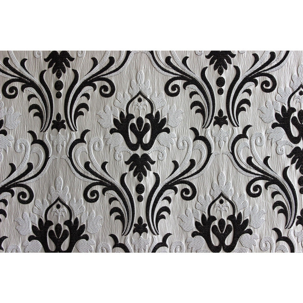 Ivory N Black Chenille Damask Upholstery Fabric Curtain
