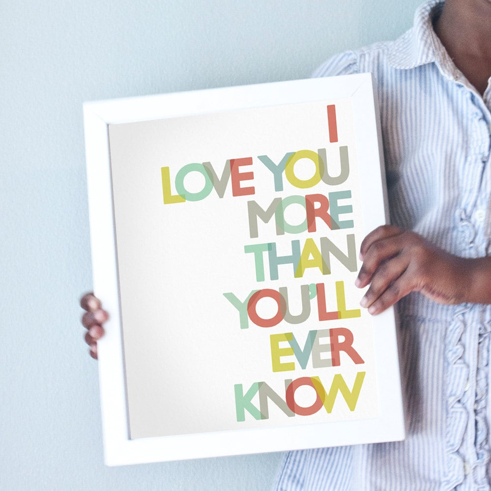 Printable 8x10 Love You More in primary colors