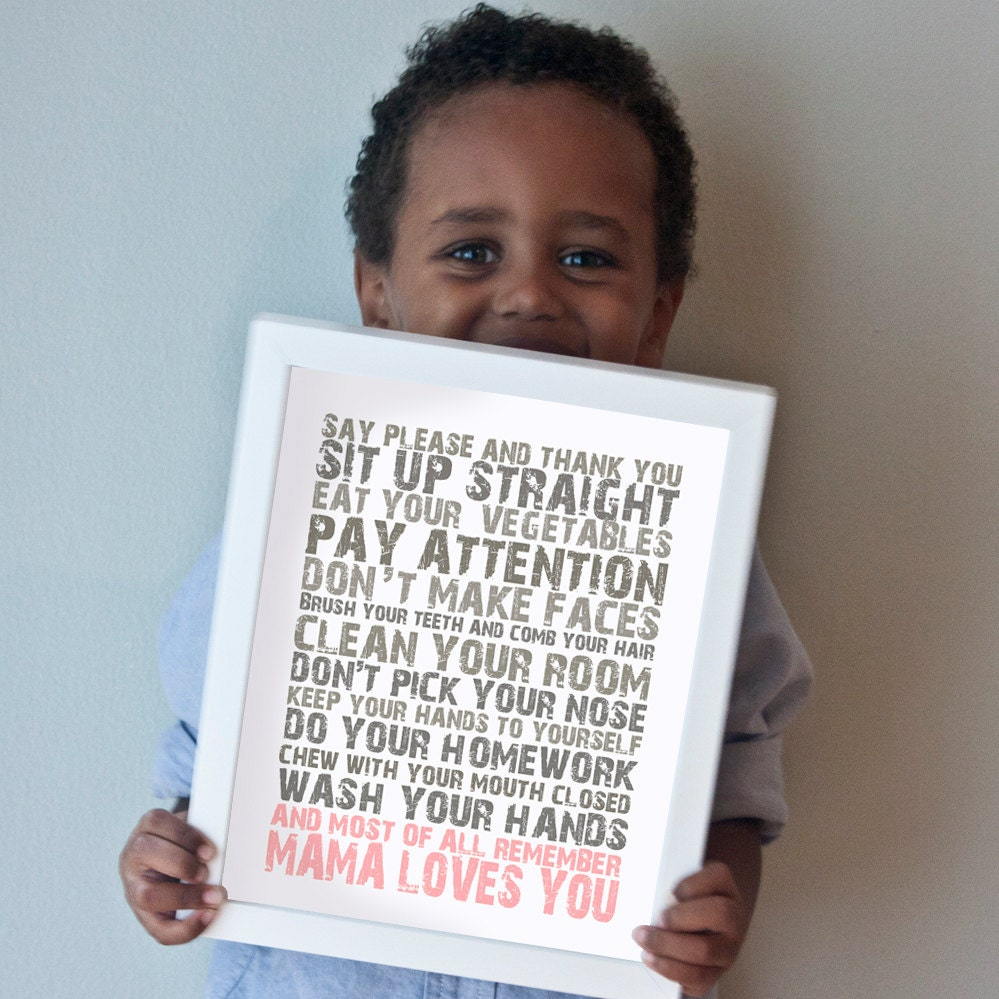 Mama Loves You print in pink and gray