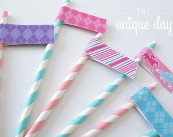 Kentucky Derby Straw Flags - Kentucky Derby birthday party - Printable - Instant Download - DIY// DERG-04