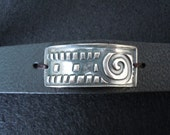 Unisex Leather Fine Silver Bracelet - Force of Life Bracelet