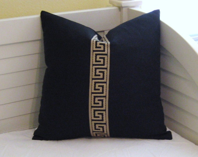 Greek Key Trim on Black Linen Contemporary Designer Pillow Cover