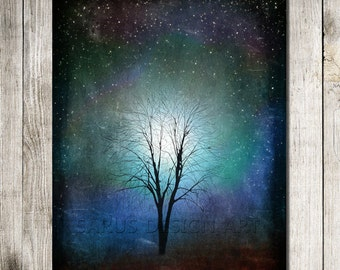 Starry Starry Night -- 11x14  Tree Art Print