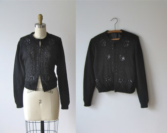 vintage 1950s sweater / 50 beaded cardigan
