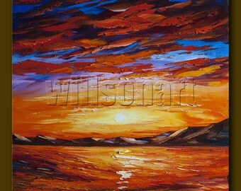 Original Sunset over the Sea Seascape Painting Oil on Canvas Textured Palette Knife Abstract Modern Art 20X20 by Willson