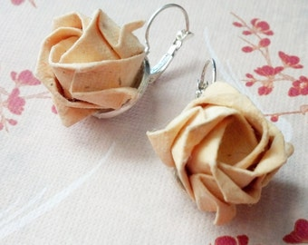 White Origami Rose Earrings, Japanese Earrings, Origami Jewelry, Asian Earrings, Handmade Birthday Anniversary Wedding Gift