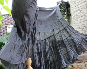Ariel on Earth Ruffle Wrap Skirt - Grey