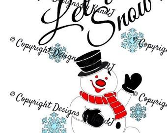 Let it Snow SVG Christmas Svg Snowman SVG File Digital cut file- Instant Download