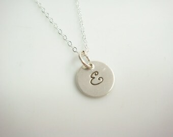 Initial Necklace // Personalized Initial Necklace Sterling Silver Simple Initial Necklace