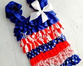 4th of July Romper - Red White and Blue Petti Romper - Patriotic Petti Romper - Ready to Ship