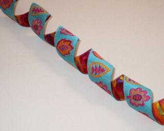 Turquoise Fuchsia and Orange Leaf Design Polyester Jacquard Ribbon--One Yard