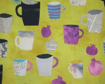 REMNANT--Acid Green Mug Collage Print Pure Cotton Fabric--1&7/8 YardS