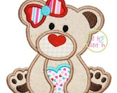 """Valentine Heart Bear Girl Applique Design For Machine Embroidery (""""Cinnamon Cake"""" Font is NOT included) INSTANT DOWNLOAD now available"""