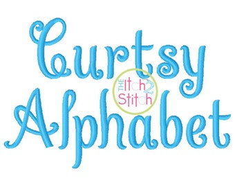 "Curtsy Alphabet Embroidery EXCLUSIVE  Font. Sizes 1.0"",1.5"", 2.0"", 2.5"" and 3.0"". INSTANT DOWNLOAD now available."
