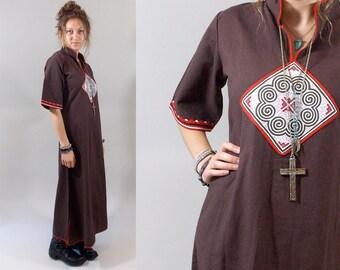60s Caftan / Vintage 1960s Brown Applique Caftan / 60s Boho Dress / Vintage Caftan / Vintage 60s Hippie Tribal Caftan