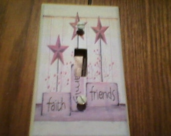 faith family friends star Primitive Light Switch or Outlet cover!!!