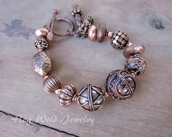 Chunky Copper Bali Style Beads Statement Bracelet