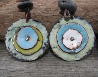 Torch fired Enamel poppy pendant weathered distressed and rustic large enamel pendant necklace