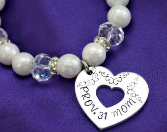Prov 31 Mom white pearl heart cut out scripture hand stamped bracelet