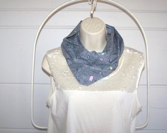 Infinity Scarf with Funky Flowers Paisley Drawings in Grey Pink and Blue - Spring Scarf - FREE Shipping in USA