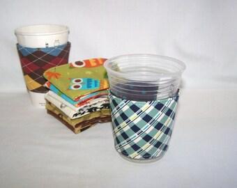 FREE SHIPPING --- Eco-Friendly Coffee/Tea Sleeve --- Blue Plaid
