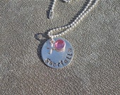 Personalized Sterling Silver Name Necklace with Cross charm and Swarovski Crystal - Baptism - 1st Communion Gift