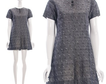 Vintage 60s MOD Charcoal Grey Shift Dress Small Medium
