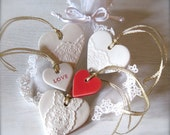 Set of 5 Gorgeous Ceramic Heart Ornaments - Valentine's Day Gift Tags - Wedding favors