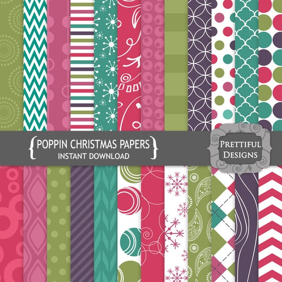 50% off SALE Digital Scrapbooking Papers - Poppin Christmas (771)