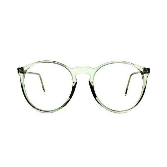 Jade Green Round Vintage Eyeglasses  : transparent 80s eyeglass frames Palma