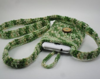 Phone Sling Cozy Carry Pouch - Desert Camo with Natural Oak Wood Button Closure