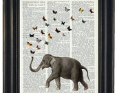 BOGO 1/2 Off Sale Dictionary Art Print  ELEPHANT Art A HHP Original Design Ellie the Elephant with her Butterflies Print on a  Dictionary